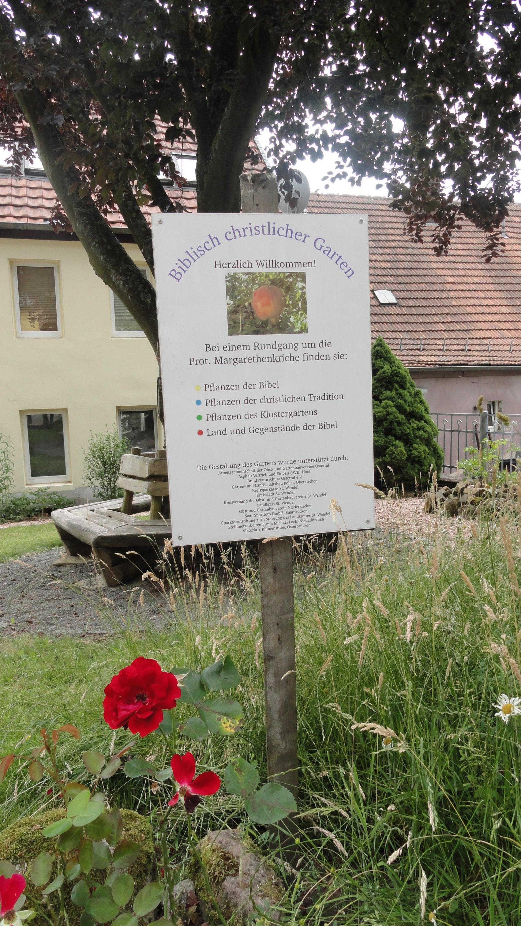 Schild biblischer Garten Niederkirchen © Cora Berger