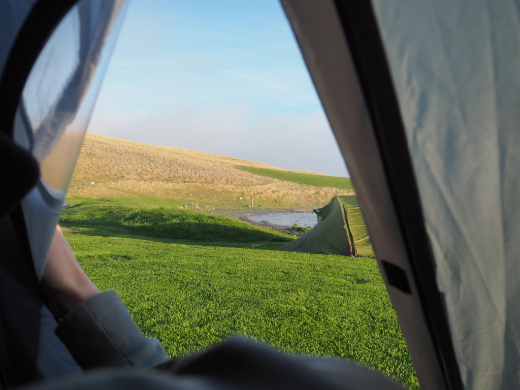 Blick aus dem Zelt auf den Mývatn © Cora Berger