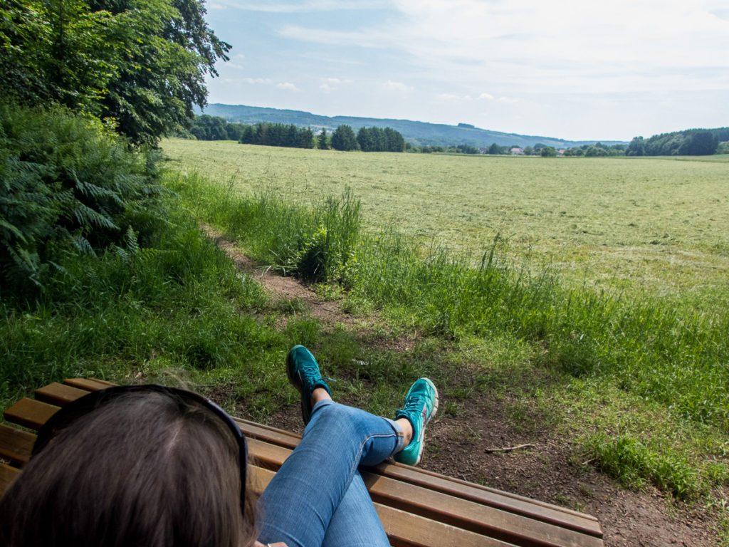 Premiumweg Pause mit Aussicht Traumschleife Himmels Gääs Paad © Cora Berger