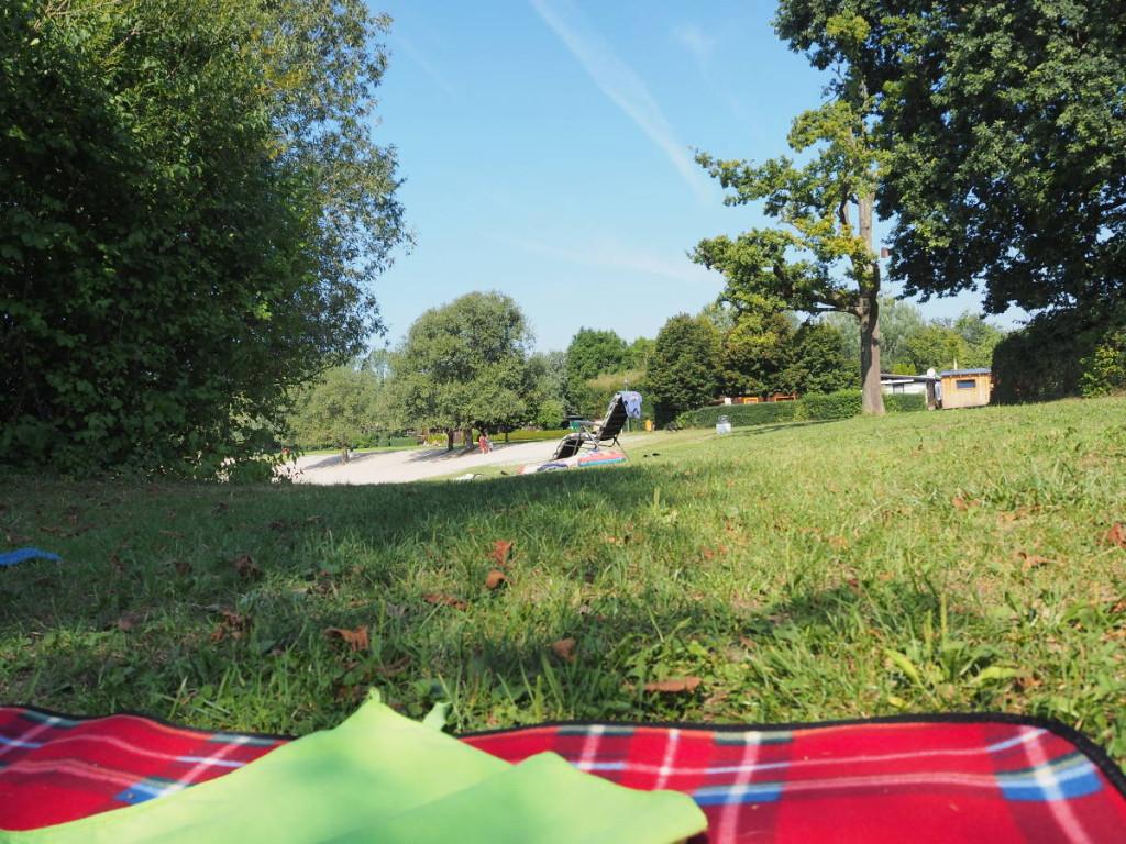 Liegewiese am Deglersee mit Blick auf Campingbereich © Cora Berger