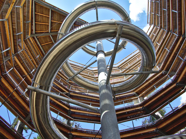 Blick von unten in den Turm am Baumwipfelpfad Schwarzwald © Markus Backes