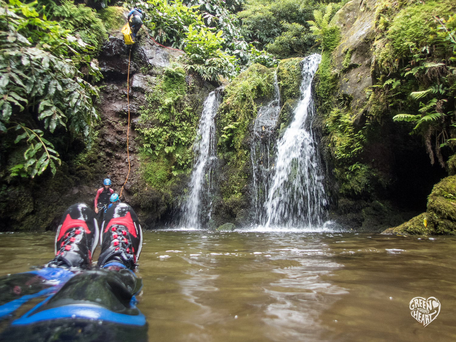 Floating while canyoning on Sao Miguel © Cora Backes | Green Shaped Heart