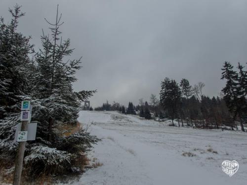 Blick zum Windklang im Schnee © Cora Backes | Green Shaped Heart